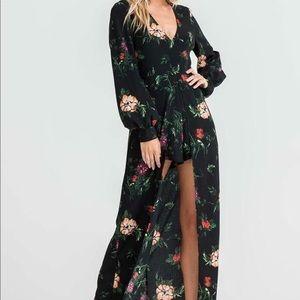 Lush Maxi Black Floral Romper
